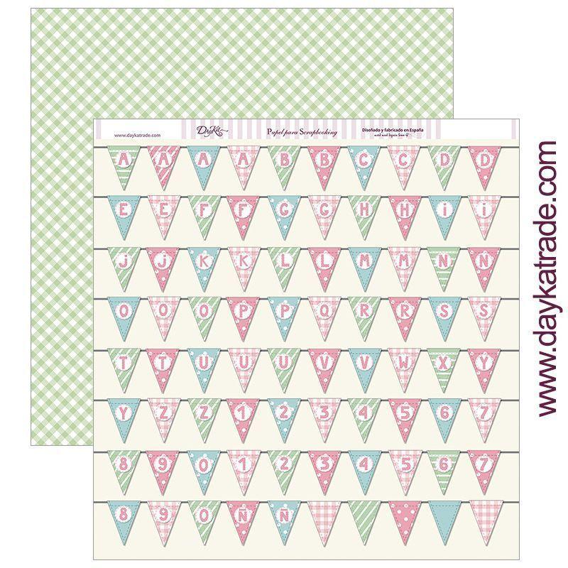 PAPEL Banderines de fiesta con letras y números NIÑA - Dayka Trade - la esquinita del scrap scrapbook coleccion papeles die cuts sellos stickers pads