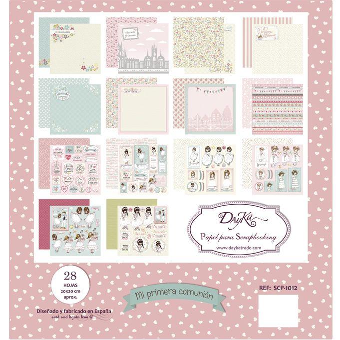 Comunión niña 28 hojas Dayka la esquinita del scrap scrapbook coleccion papeles die cuts sellos stickers pads