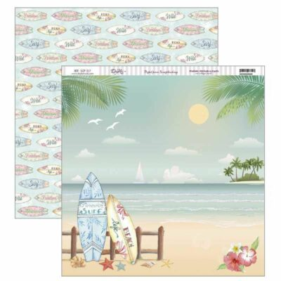 playa Fiesta Tropical surf verano SCP-317 Dayka la esquinita del scrap scrapbook coleccion papeles die cuts sellos stickers pads