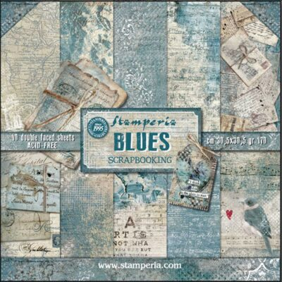 BLUES - STAMPERIA - scrapbook la esquinita del scrap online de scrapbooking coleccion papel stickers die cuts chapas troqueles suajes sellos