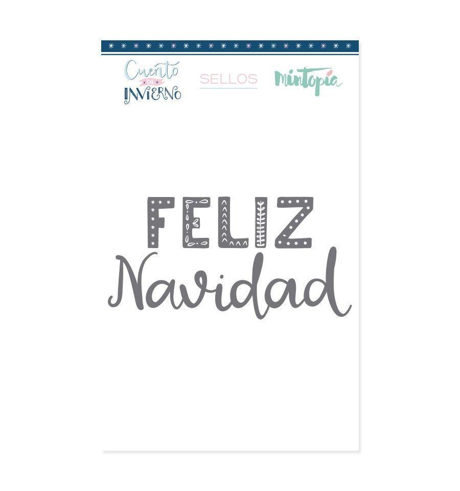 sello letrero feliz navidad CUENTO DE INVIERNO - Mintopía colección navidad scrapbooking La esquinita del scrap México 1