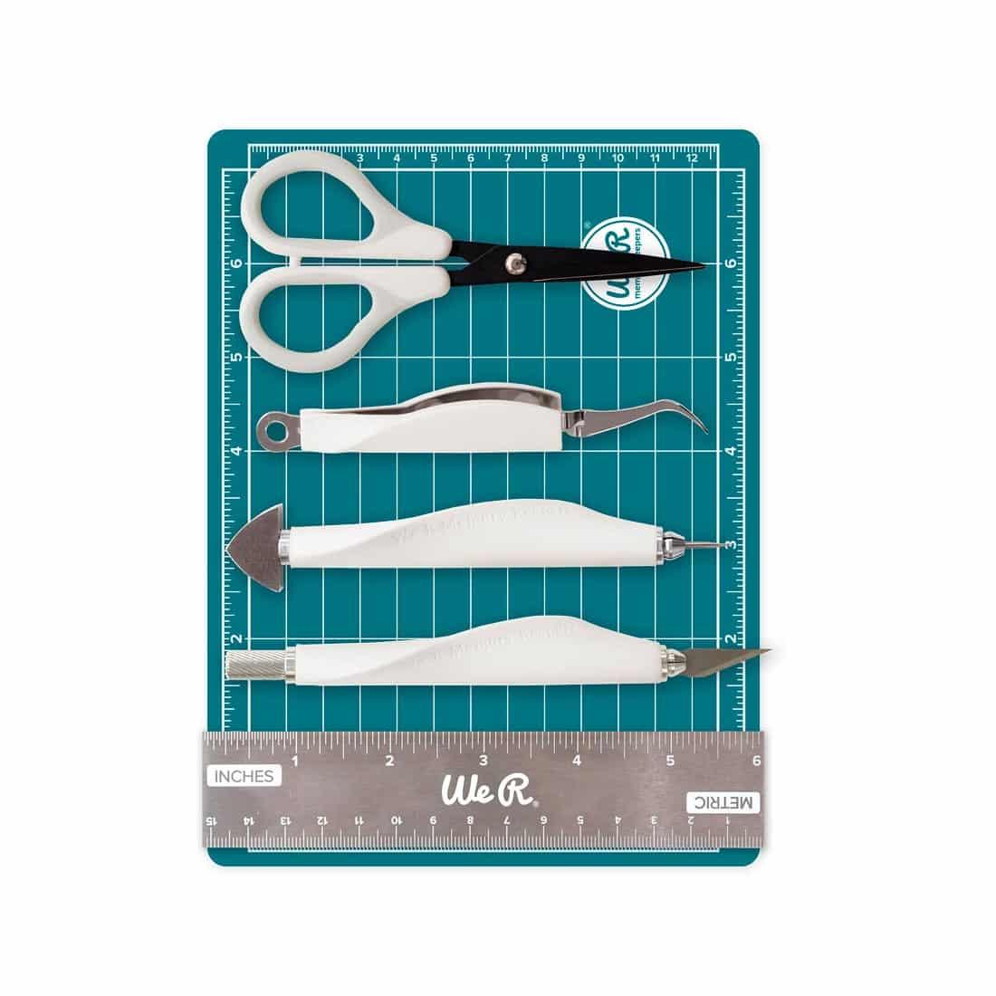 mini tool aqua kit WRMK scrapbook tijera regla base de corte tapete brads cutter La esquinita del scrap México 1