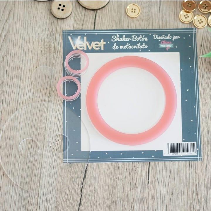 shaker botón metacrilato VELVET Alazne Vales scrapbook La esquinita del scrap México