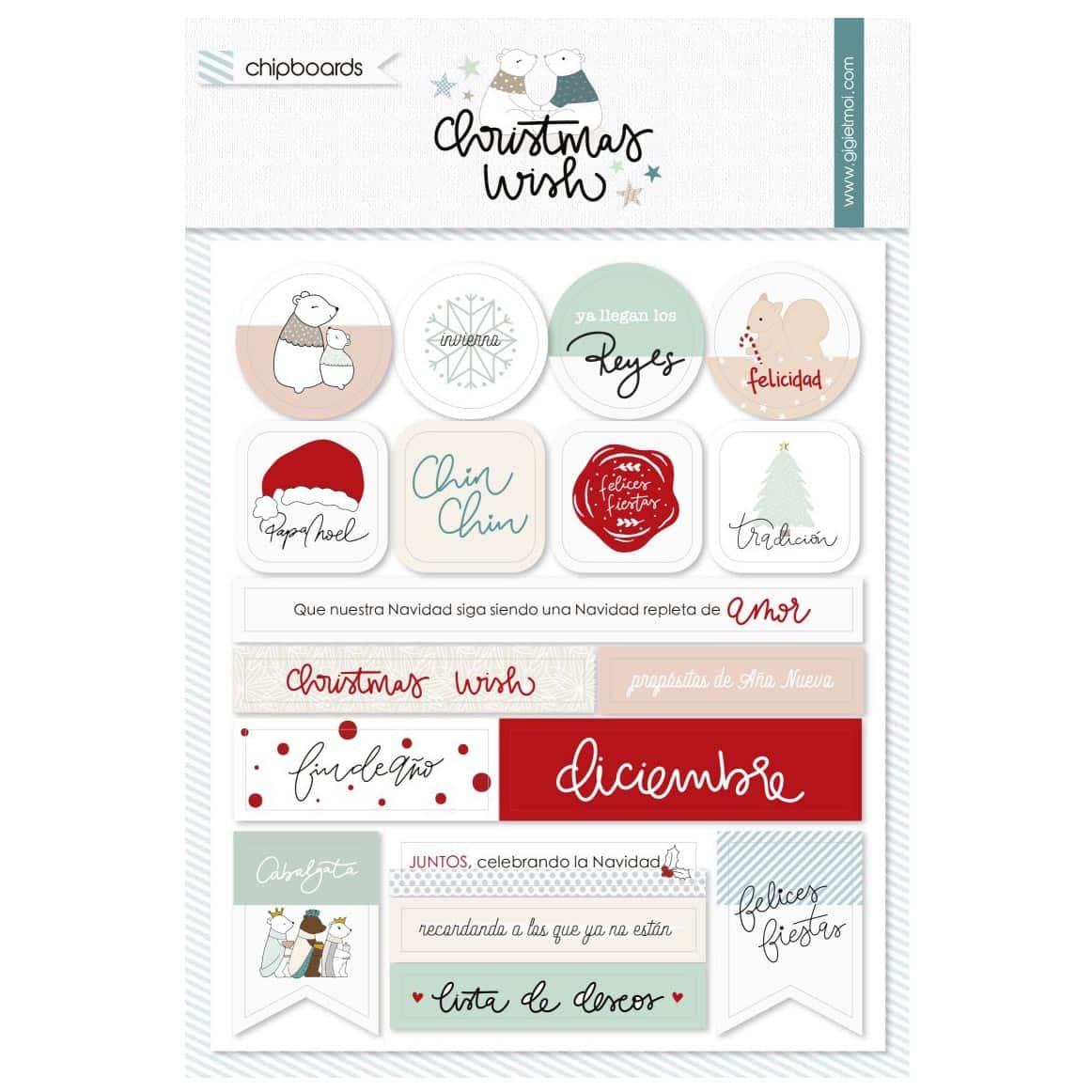stickers chipboard christmas wish GIGIETMOI navidad scrapbook La esquinita del scrap México