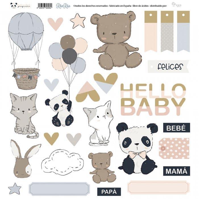 chipboards pequeño panda infantil bebé niño niña alúa cid scrapbook La esquinita del scrap México