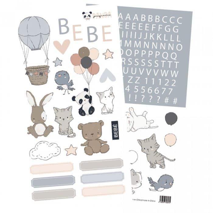 set de stickers pequeño panda infantil bebé niño niña alúa cid scrapbook La esquinita del scrap México