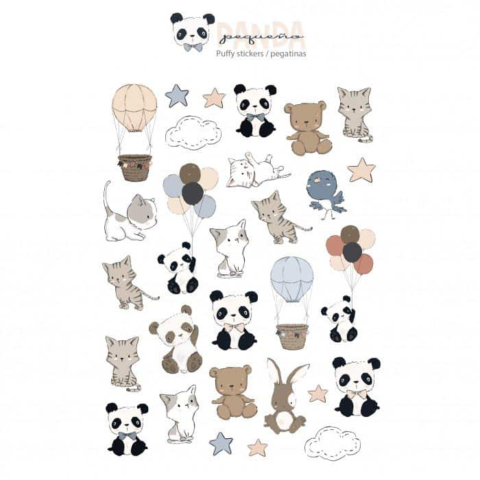 set stickers puffy pequeño panda infantil bebé niño niña alúa cid scrapbook La esquinita del scrap México