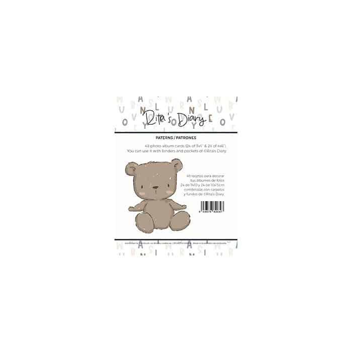 pack de tarjetas patrones pequeño panda infantil bebé niño niña alúa cid scrapbook La esquinita del scrap México