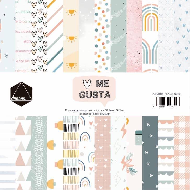 set 12 papeles doble cara colección ME GUSTA scrapbook DUNAON La esquinita del scrap México 1