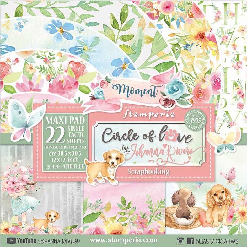 set de 22 papeles 12x12 Círculo de amor JOhanna Rivero Stampería mascotas perros familia scrapbook La esquinita del scrap México