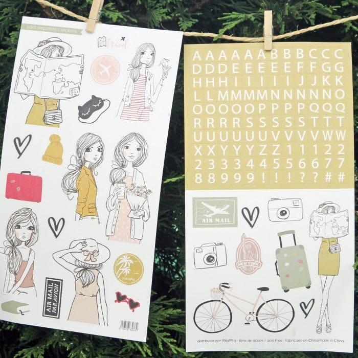 set de stickers colección TRAVEL Alúa Cid scrapbooking viajes vacaciones La esquinita del scrap México