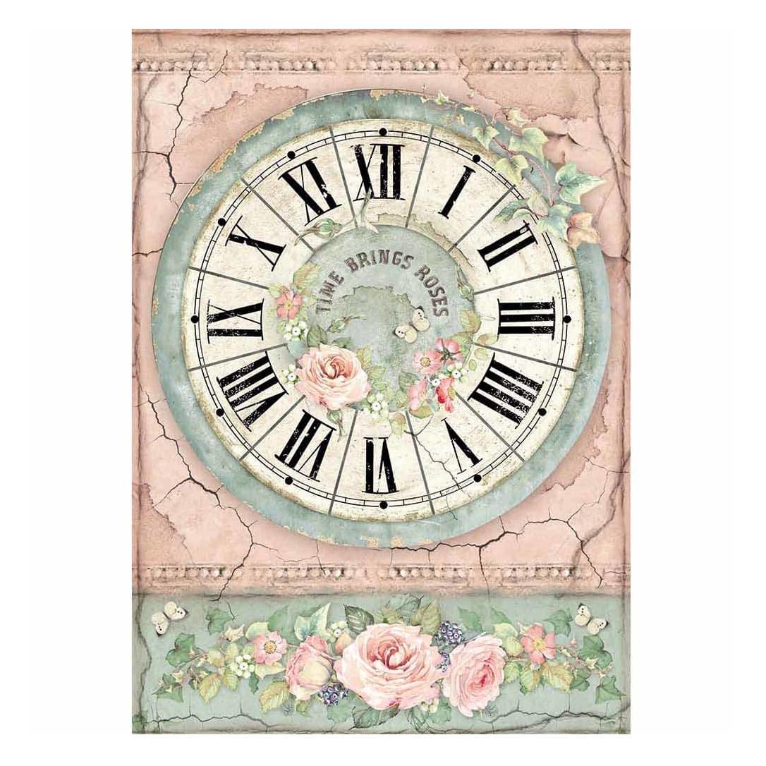 DFSA4444 papel arroz Clock scrapbook La esquinita del scrap México