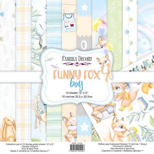 FUNNY FOX BOY 12x12 zorros niño infantil bebé Fabrika Decoru scrapbook La esquinita del scrap México