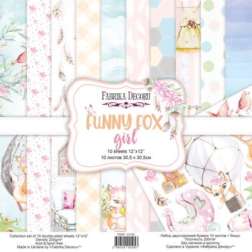 FUNNY FOX GIRL 12x12 zorros niña infantil bebé Fabrika Decoru scrapbook La esquinita del scrap México 1