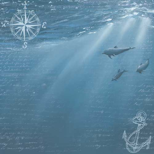 MEMORIES OF THE SEA 12x12 marítimo mar océano delfines naval Fabrika Decoru scrapbook La esquinita del scrap México