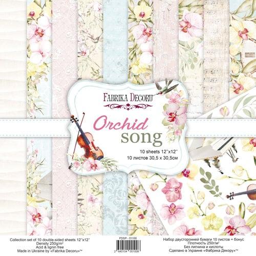 ORCHID SONG 12x12 música violines pianos orquídeas flores Fabrika Decoru scrapbook La esquinita del scrap México 1