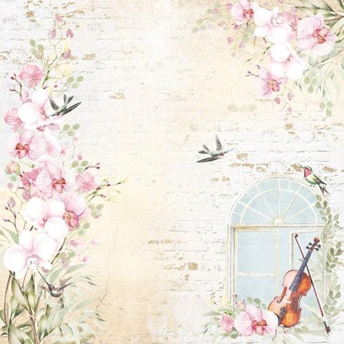 ORCHID SONG 8x8 música violines pianos orquídeas flores Fabrika Decoru scrapbook La esquinita del scrap México