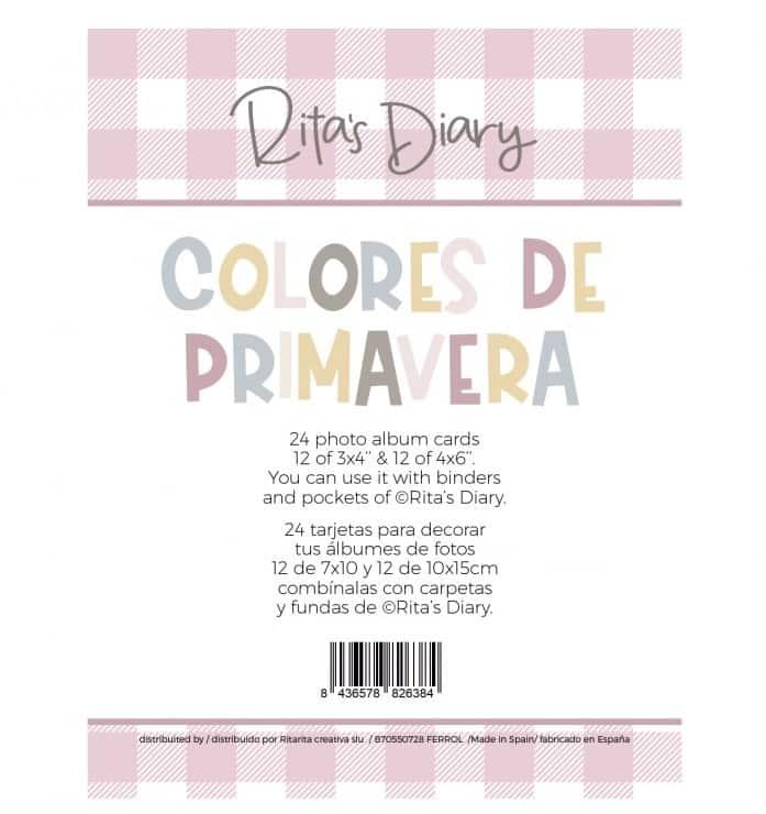 set pack de tarjetas impresas a doble cara Colores de primavera Rita's Diary Alúa Cid scrapbooking La esquinita del scrap México